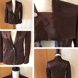 Brown Lined Satin One Button Jacket
